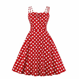 IMEKIS Women Sleeveless Floral Print Summer Dresses A Line Fit and Flare Casual Midi Dress Holiday Beach Sundress 1950s Polka Dots Vintage Formal Party Ball Gown Dark Blue 2XL