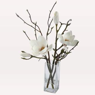 west elm Faux Magnolia + Twigs in Vase - White