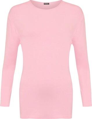 GirlzWalk Women's Plain Long Sleeve T-Shirt Basic Casual Plain Stretch Top Plus Size (Pink ML = UK 12-14)