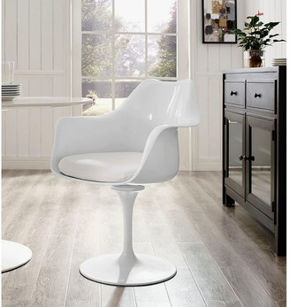 Bsd National Supplies Deland Tulip Style Swivel Arm Chair with White Cushioned Seat
