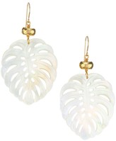 Nest Mother-Of-Pearl & 22K Goldplated Palm Leaf Earrings