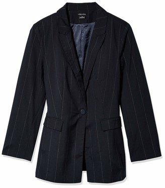 City Chic Women's Apparel Women's Plus Size Longline Jacket with Pinstripe and Single Button Detail