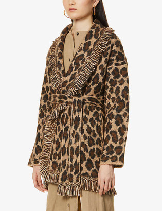 Alanui Leopard animal-print knitted cardigan