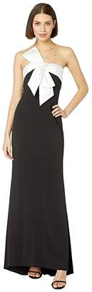 Adrianna Papell Knit Crepe Evening Gown with Bow Detail
