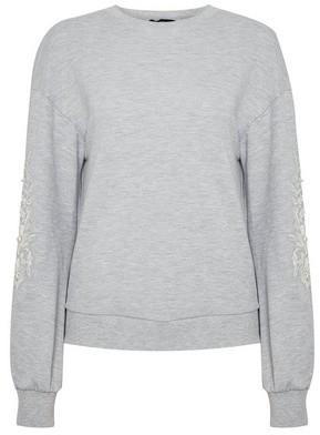 Dorothy Perkins Womens Grey Embroidered Sleeve Sweatshirt, Grey