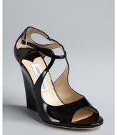 Jimmy Choo black patent leather 'Verena' strappy wedge sandals