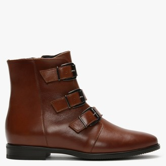 Daniel Roppie Tan Leather Buckled Ankle Boots