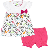 Kushies White & Fuchsia I Love Spring Dress & Bloomers - Infant