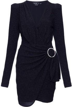 PatBO Lurex wrap mini dress