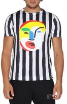 Fendi Striped T-Shirt with Tucan Face, White/Black