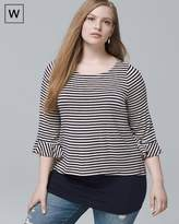 White House Black Market Plus Striped Double-Hem Tunic