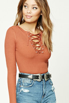 Forever 21 FOREVER 21+ Lace-Up Grommet Sweater