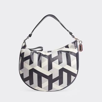 Tommy Hilfiger Cube Monogram Leather Hobo Bag