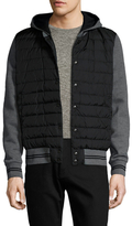 Moncler Zip Front Quilted Contrast Hooded Sweatshirt