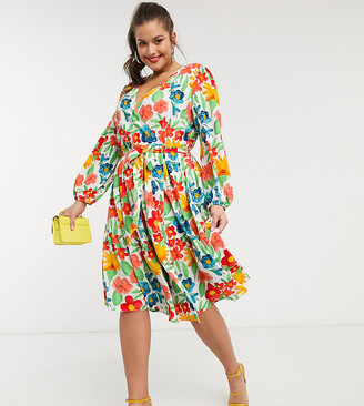 Glamorous Curve midaxi wrap front dress with tiered skirt in bright vintage floral
