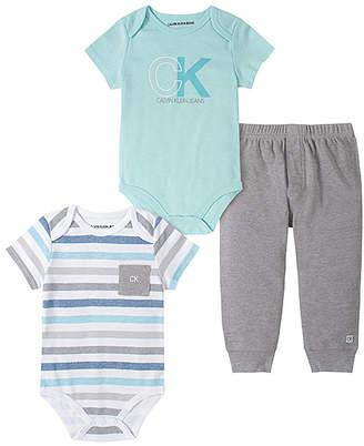 Calvin Klein Jeans Boys' Infant Bodysuits ASSORTED - Light Blue Stripe Pocket Bodysuit Three-Piece Set - Infant