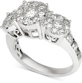 Macy's Diamond Three-Stone Cluster Engagement Ring (2 ct. t.w.) in 14k White Gold