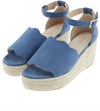 Monsoon Savannah Scallop Edge Wedges - Blue