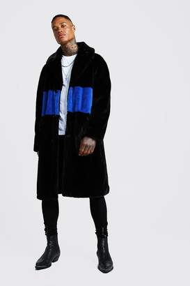 BoohoomanBoohooMAN Mens Blue Luxe Faux Fur Overcoat with Stripe, Blue