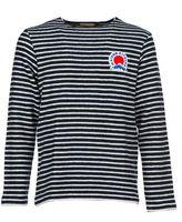 Kitsune Maison Striped Logo Plaque Sweater