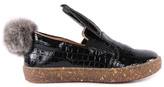 Ocra Fur-Lined Patent Leather Slip Ons with Pompom