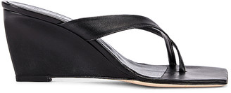 BY FAR Theresa Leather Wedge in Black | FWRD