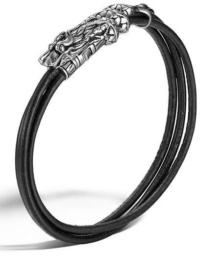 John Hardy Legends Naga Sterling Silver Dragon Station Leather Bracelet