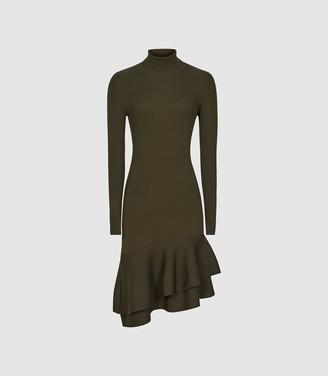 Reiss Finn - Ruffle Hem Knitted Dress in Green