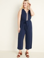 Old Navy Embroidered Tie-Belt Jersey Plus-Size Jumpsuit