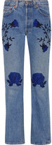 Bliss and Mischief - Conjure Embroidered Mid-rise Straight-leg Jeans - Mid denim