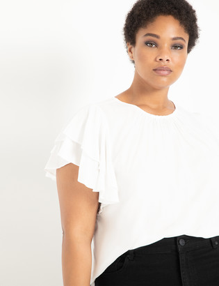 ELOQUII Ruffle Shoulder Top