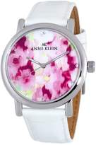 "Anne Klein Women's 109193FLWT Silver-Tone Multi-Color ""Flower"" Dial with White Strap Watch"