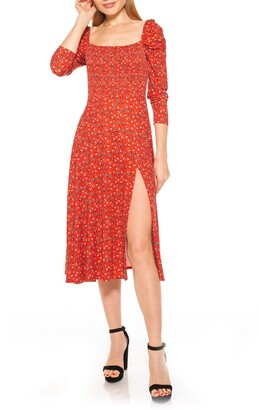 Alexia Admor Smocked Fit Flare Puff Sleeve Dress
