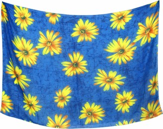 """LA LEELA Women's Beach Bikini Sarong Wrap Scarfs for Face Cover Scarves Shawls Pareo Floral Printed Multipurpose Sheer Dress Cover up Wrap Skirt 43""""X32"""" Blue_Y56"""