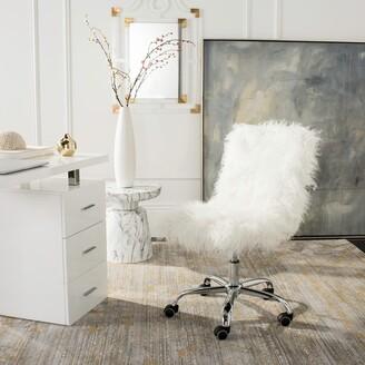 "Safavieh Whitney Faux Sheepskin Chrome Leg Swivel Office Chair - 26.4"" x 26"" x 31.1"""