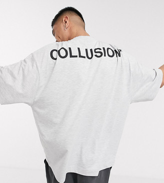 Collusion oversized t-shirt with logo print in gray marl