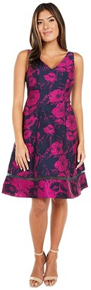 Adrianna Papell Two-Tone Jacquard Fit-and-Flare (Navy/Fuchsia) Women's Dress