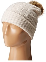 Polo Ralph Lauren Cashmere Classic Cuff Hat with Faux Fur Pom