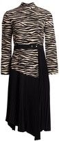 A.L.C. Peyton Tiger-Print Paneled & Pleated Dress