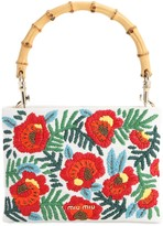 Miu Miu Embroidered Canvas Top Handle Bag