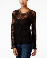 INC International Concepts Metallic-Trim Lace Sweater, Only at Macy's