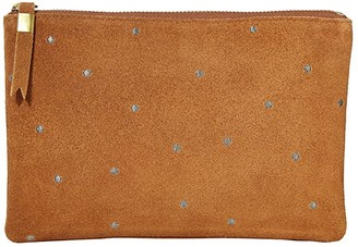 Madewell Leather Pouch Clutch in Embroidered Dots (Equestrian Brown) Handbags