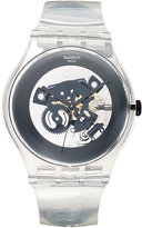 Swatch Watch, Unisex Swiss Black Ghost Clear Plastic Strap 43mm SUOK107