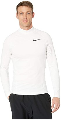 Nike Pro Therma Top Long Sleeve Mock (White/White/Black) Men's Clothing