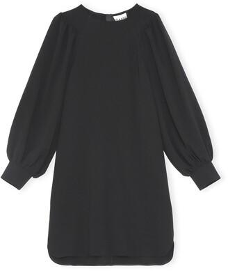 Ganni Long Sleeve Crepe Shift Dress
