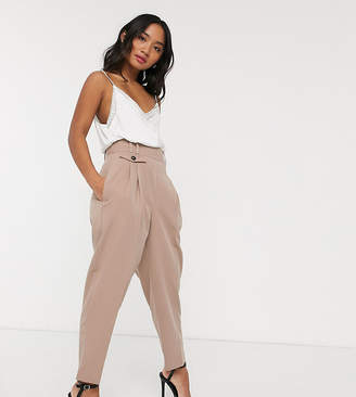 Asos DESIGN Petite tailored high waist balloon pants-Pink