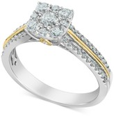 Macy's Diamond Cluster Two-Tone Statement Ring (3/4 ct. t.w.) in 14k Gold & 14k White Gold