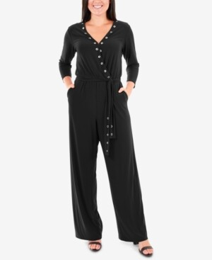 NY Collection Grommet Wide-Leg Jumpsuit