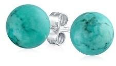 Bling Jewelry 10MM Gemstone Round Ball Stud Earrings 925 Sterling Birthstone Colors