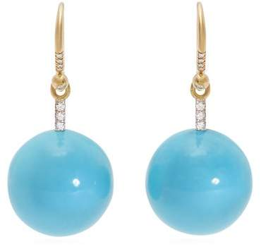Irene Neuwirth Gold, Diamond & Kingman Turquoise Earrings - Womens - Blue